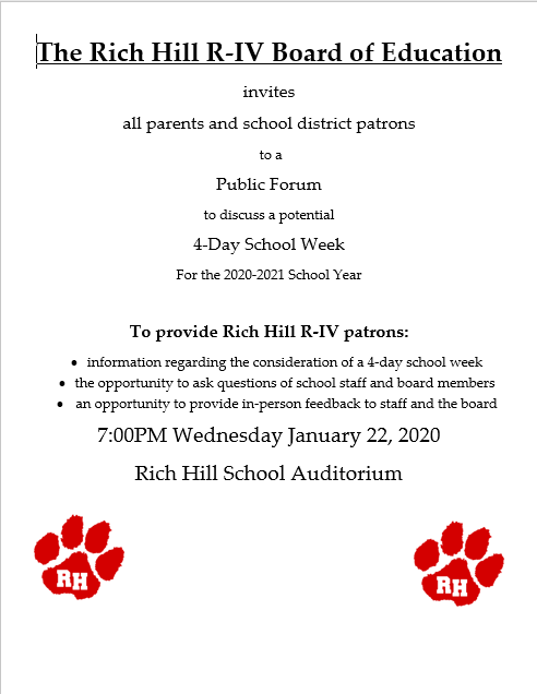Rich Hill R-IV 4-Day Week Forum