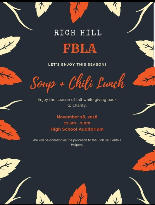 Please join the FBLA this Sunday. This is a free will donation lunch.